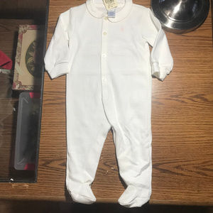 Ralph Lauren white w/ pink footed sleeper 6-9M NWT